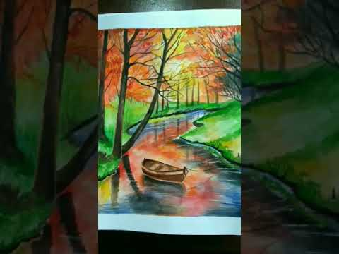 Easy way to paint the landscape/How to paint trees and its shadow/water colour painting tutorial
