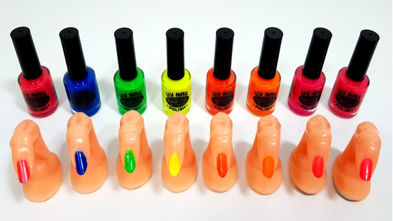 Uv Nails Paint Glow Polish Diy Learn Colors The Finger Family Song Nursery Rhymes