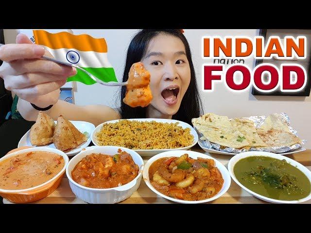 INDIAN FOOD!! Butter Chicken, Samosa, Kadai Paneer, Saag Gosht, Biryani, Naan   Eating Show Mukbang