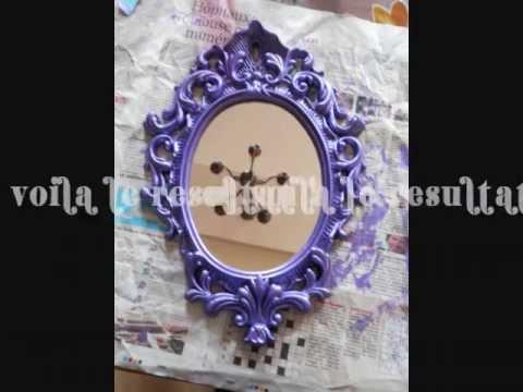Relooking d 39 un miroir avec des moulures youtube - Customiser un miroir ancien ...
