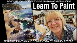 Learn to Paint! A Beach Scene in Watercolor for any level artist, step-by-step guidance, free photo.