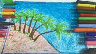 How to draw scenery of Island with water colour step by step,របៀបគូរគំនូរទេសភាពនៅសមុទ្រស្អាតៗ