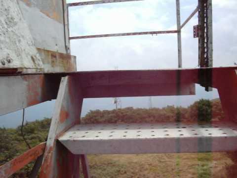 Climbing the radio tower at Elliot Knob in Augusta County, VA