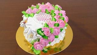 Кремовый торт с цветами Как украсить торт кремом  Cream cake with flowers