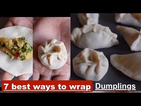 How to wrap dumplings/momos (7ways)|how to fold momos|Easy ways