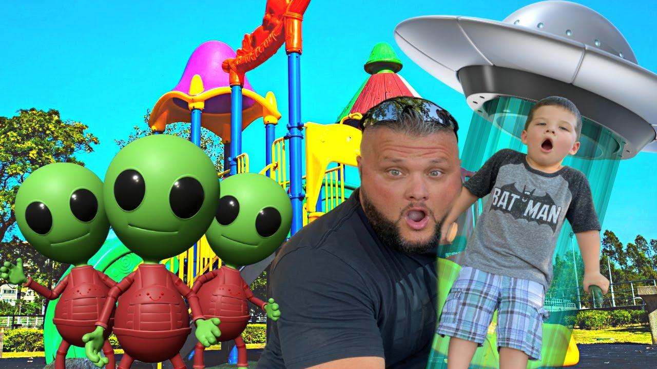 CALEB'S FAVORITE PLAYGROUND PARK!! ALIEN SPACESHIP at the PARK! Hide & Seek PRETEND PLAY with Mom!