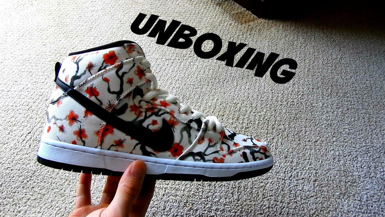 ce0f1b523949 Nike SB Dunk High PRO Cherry Blossom Shoe UNBOXING - YouTube
