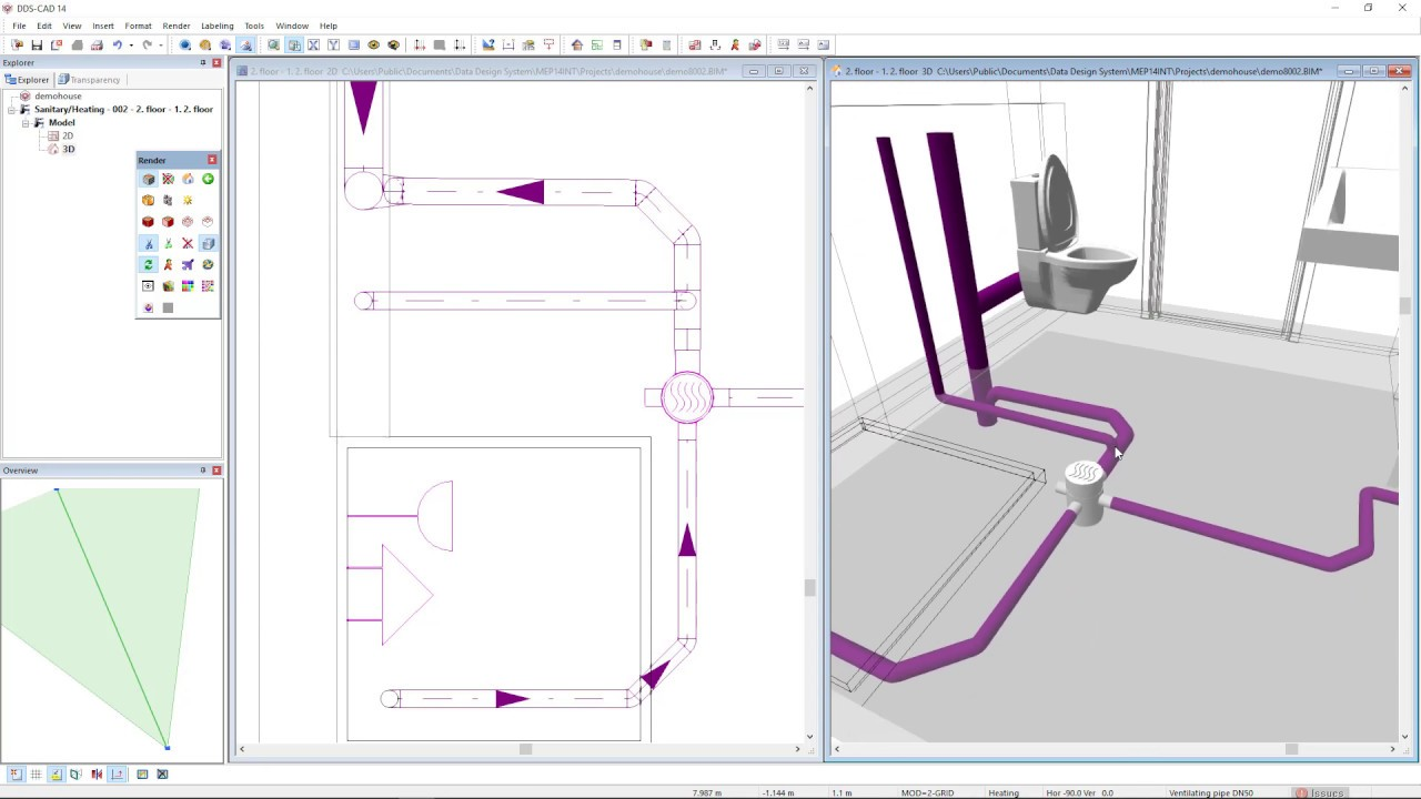 How to use a floor gully in your bathroom's drainage system in DDS CAD