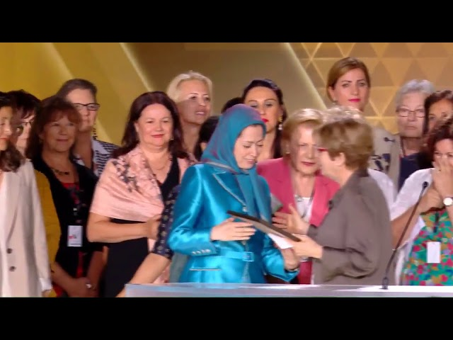 Delegation of women dignitaries dedicating joint statement to Maryam Rajavi