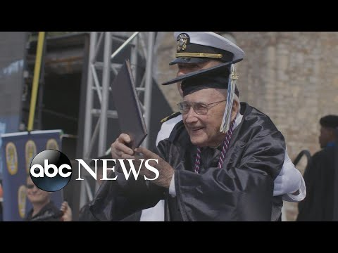 World War II Navy veteran graduates from college
