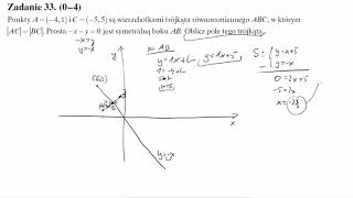 Matura operon 2016 zadanie 33 Punkty A=(−4,1) i C=(−5,5) są wierzchołkami trójkąta równoramiennego A
