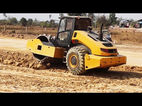 Amazing Road Construction Machinery  Motor Grader And Vibratory Roller In Action