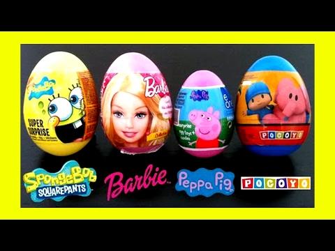 Surprise eggs Pocoyo, Spongebob, Barbie, Peppa pig, Kinder surprise egg Unboxing gift Candies