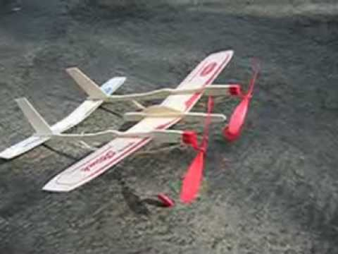 Twin Engine Rubber Band Powered Airplane Youtube
