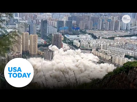 15 buildings in China get demolished simultaneously | USA TODAY