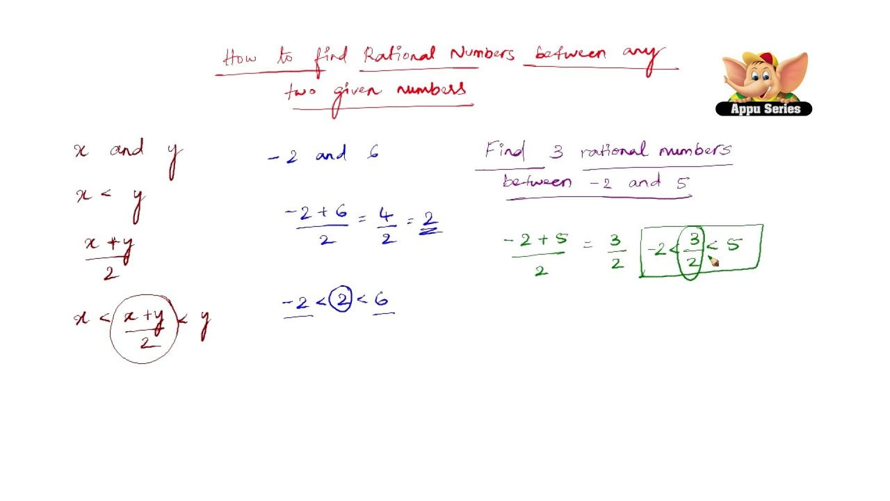 How To Find Rational Numbers Between Any Two Given Numbers Youtube