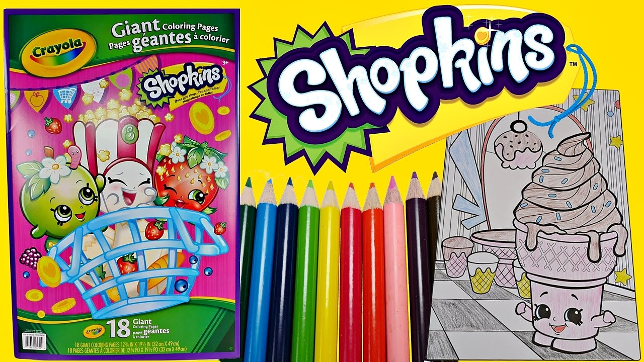 SHOPKINS Speed Coloring ICE CREAM DREAM W Colored Pencils