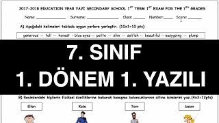 7. Sınıf 1. Dönem 1. İngilizce Sınavı