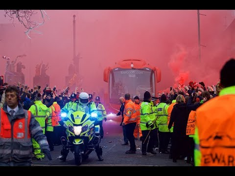 Anfield - Liverpool and Man City teams arrive for Champions League