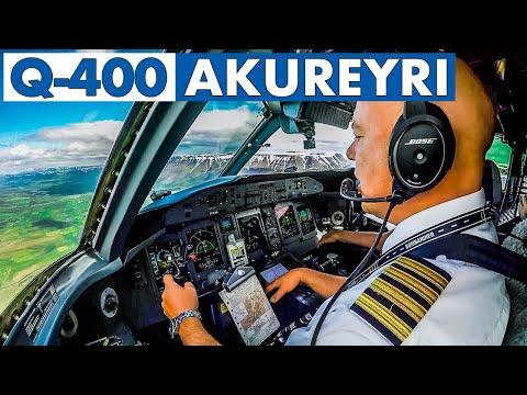 Piloting The Q-400 Into Akureyri Iceland