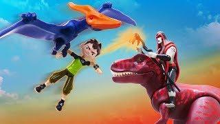 Новое видео с игрушками про приключения Бен 10. Прятки от динозавров!