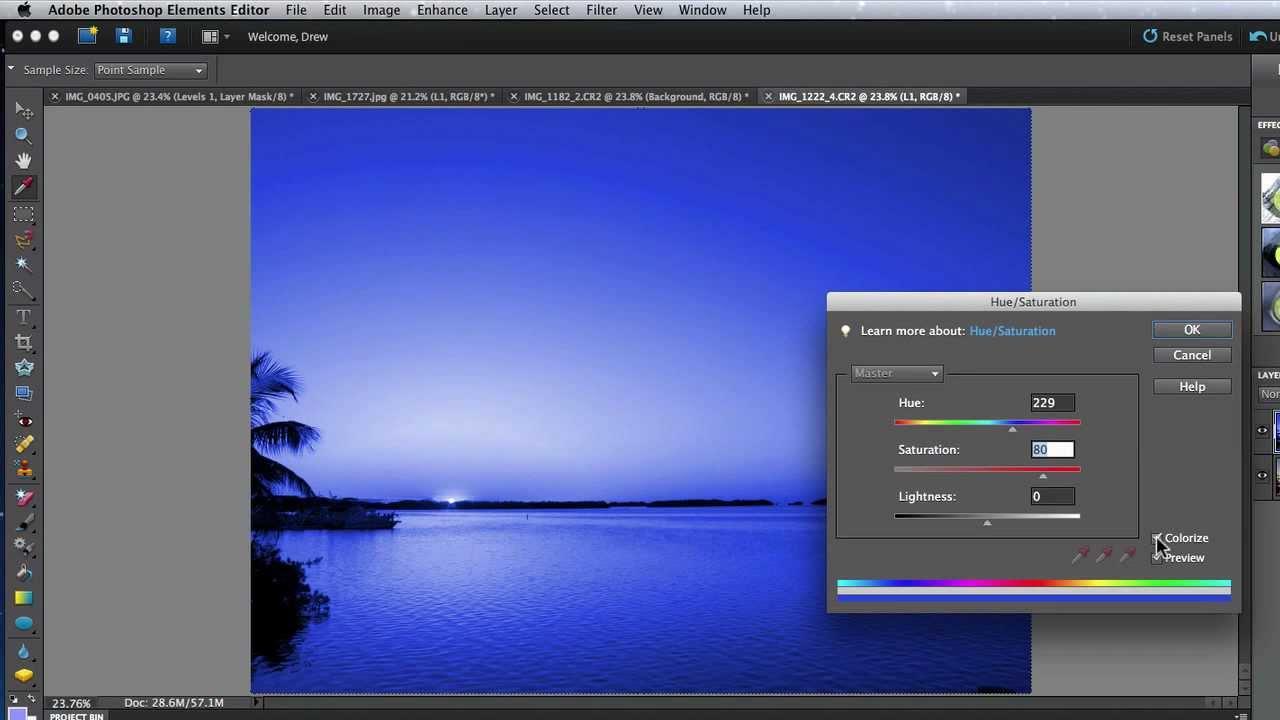 How to fix color cast in photoshop elements - Photoshop Elements 10 Editor Tutorial How To Use The Color Cast Hue Saturation Adjustments