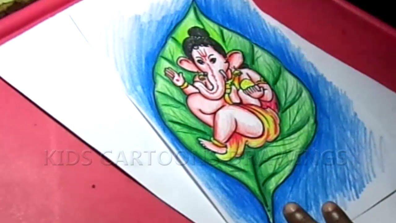 How To Draw Leaf Ganesha Step By Step Ganesha Easy Drawing Cute Child Ganesha Drawing Youtube