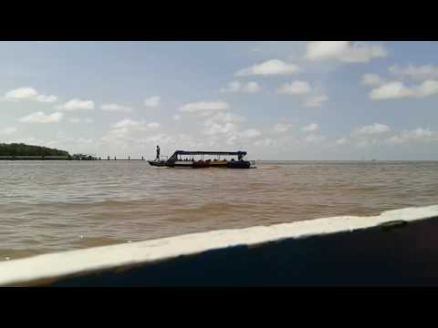Crossing the Demerara  River in Guyana.