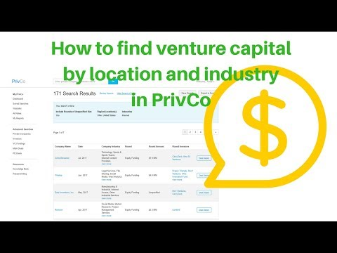 How to find Venture Capital funding by location and industry using PrivCo