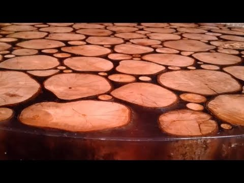 Epoxy Resin Table With Log Cuts - Woodworking DIY