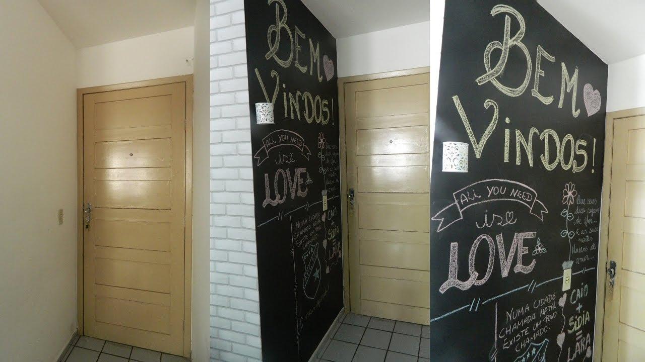 Diy parede lousa com papel contact decore gastando pouco - Papel adhesivo para paredes ...