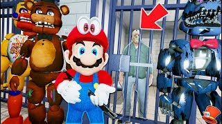 ANIMATRONICS & SUPER MARIO TAKE JASON VOORHEES INTO JAIL! JAILBREAK! (GTA 5 Mods FNAF RedHatter)