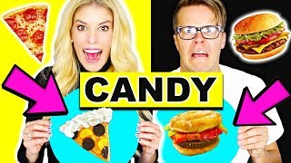 Making Real Food out of CANDY! Learn how to make DiY Edible Candy vs Real Food Challenge!
