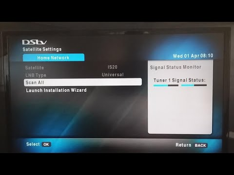 How to run the DStv installation wizard on an HD decoder (Single LNB)