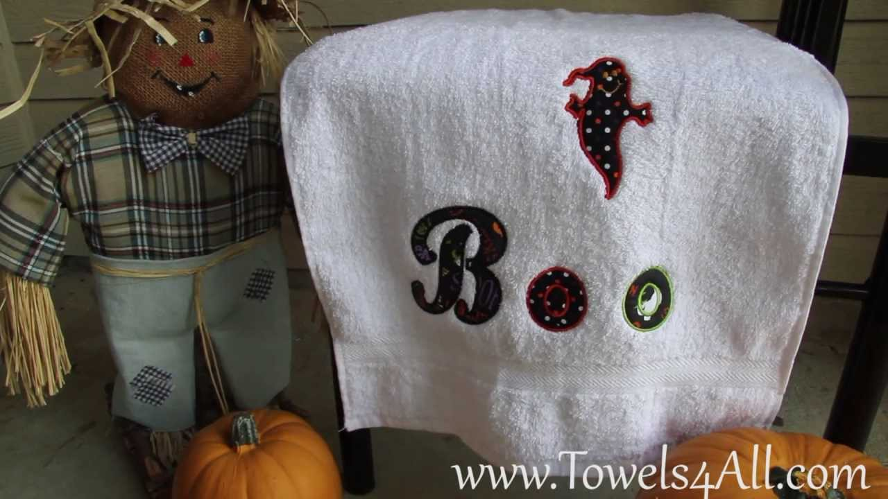 Boo it s a ghost hand towel applique video demo youtube