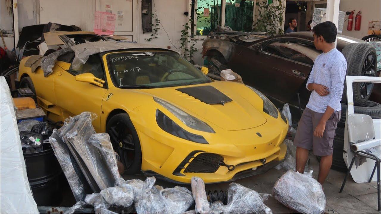 Crashed Supercar Junkyard In Dubai Ferrari Rollsroyces Mustangs