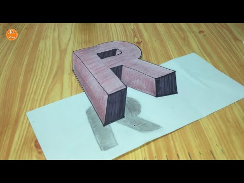 Download Try To Do 3d Trick Art On Paper Floating Letter R Long