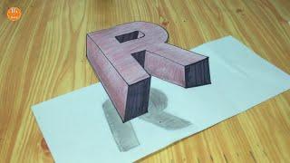 Try to do 3D Trick Art on Paper, floating letter R, Long version #Mr.Ravy
