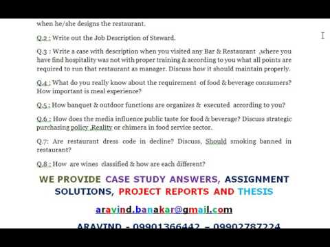 Food  Beverage Mgmt  Write Out The Job Description Of Steward