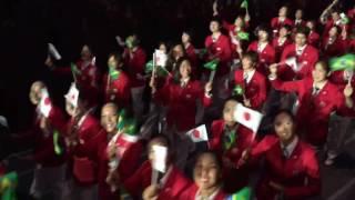 リオ五輪開会式 日本選手団に声援を直接送った