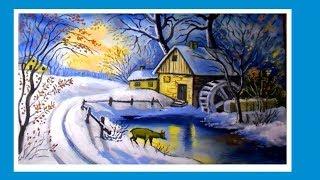 Зимний пейзаж гуашью с водяной мельницей и оленем/Видеоурок для новичков