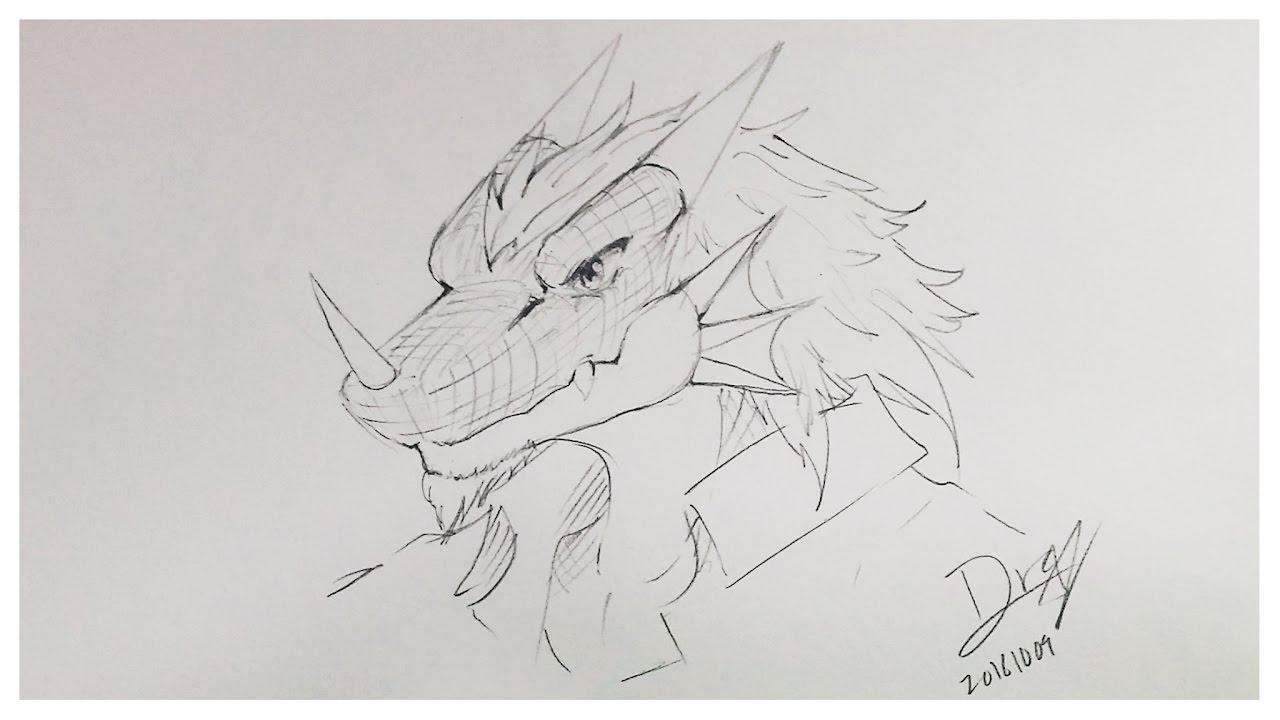 How I Draw Furry Dragon Head Youtube