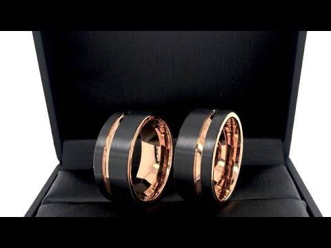 Rose Gold & Black Tungsten Ring, Men's Ring, Ring For Women 8mm-12mm