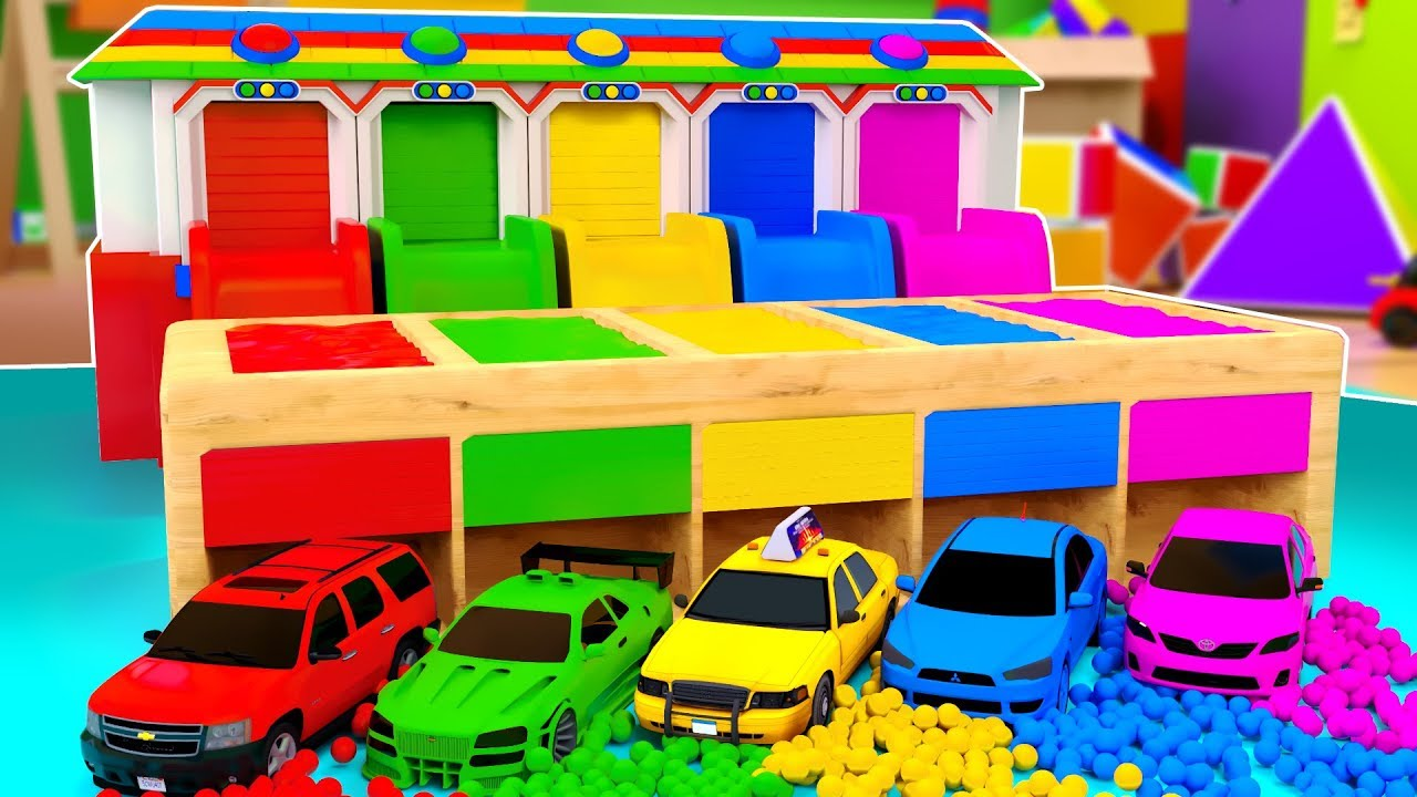 Learn Colors With Toy Sport Cars  Roll off the slide and springboard & fall into the pool with paint