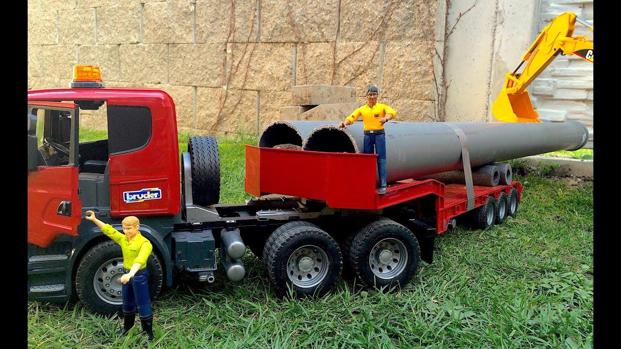 bruder toys truck scania long loads  youtube