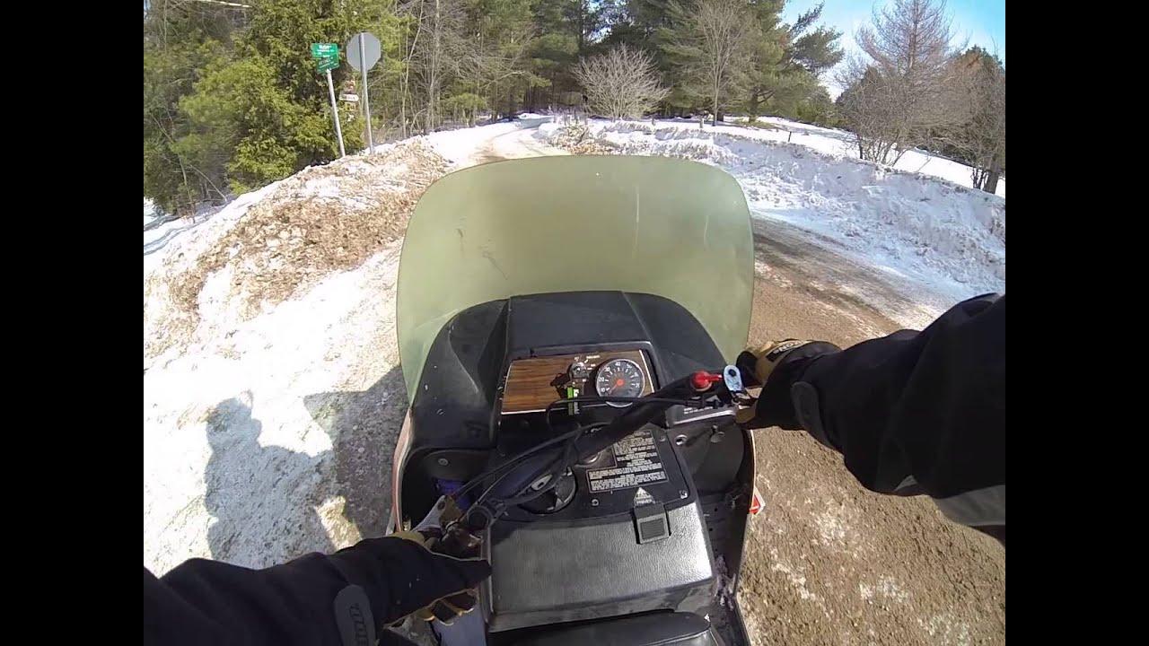 vintage snowmobile ride