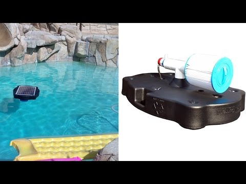 The savior 5000 gallon floating solar powered pool and spa pump and filter system youtube for Solar powered swimming pool pumps