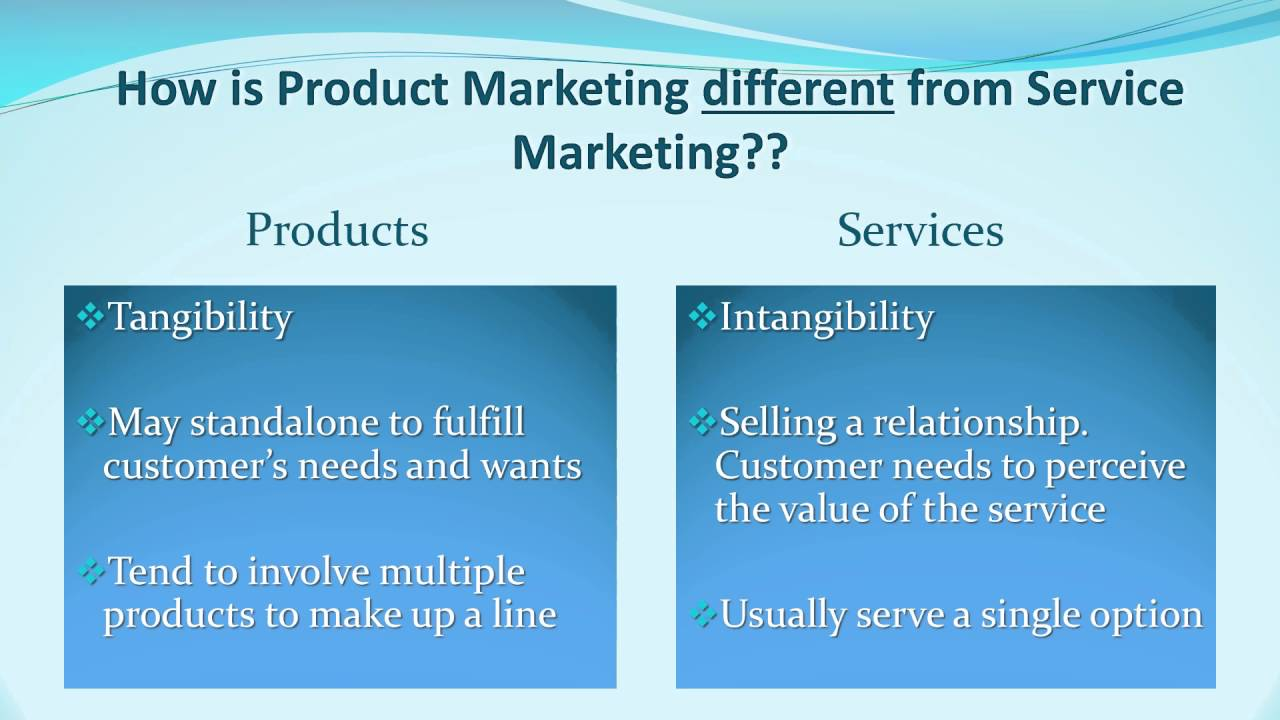 Marketing of physical product vs services