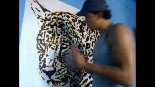jaguar pintado en pared