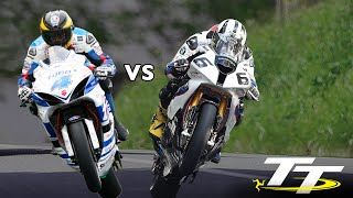 GUY MARTIN vs MICHAEL DUNLOP @ 200mph! PURE ADRENALINE! On Bike POV Lap! Isle of Man TT RACES(Subscribe to our channel: http://bit.ly/2jvL8aB Follow Guy Martin and his Tyco Suzuki Superbike weapon for a mad dash around the famous Isle of Man TT ..., 2015-03-10T17:26:13.000Z)